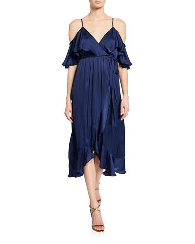 Bea Cold-Shoulder Wrap Dress