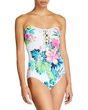 b55b95b66c Tommy Bahama Fleur De Flora Lace-Up One-Piece Swimsuit