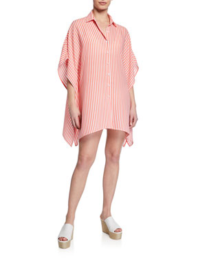 416c078111883 Tommy Bahama Striped Short-Sleeve Boyfriend Shirt