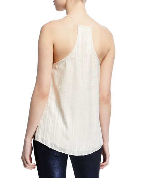Cami NYC Striped V-Neck Racerback Camisole with Lace Trim