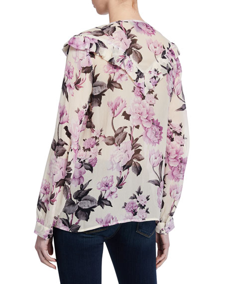 PAIGE Amore Floral-Print Silk Blouse
