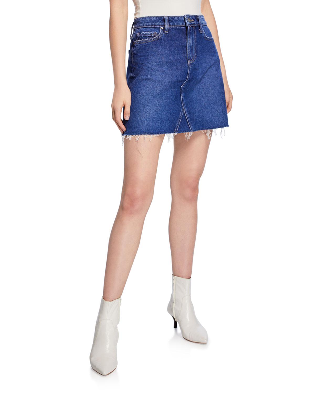 916adba4a PAIGE Aideen Denim Mini Skirt w/ Raw Hem | Neiman Marcus