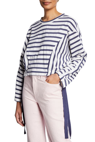Parker Yolanda Striped Sweatshirt with Side-Ties