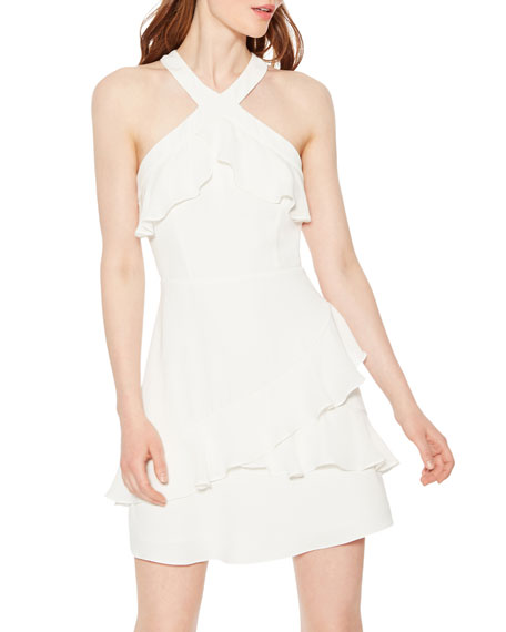 Parker Rikki Mini Halter Dress with Ruffles