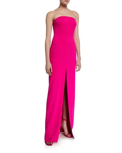 Martell Strapless Front-Slit Column Gown