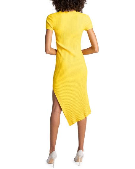 A.L.C. Minetta Ribbed Asymmetrical Midi Dress