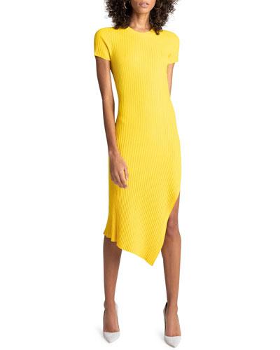 Minetta Ribbed Asymmetrical Midi Dress