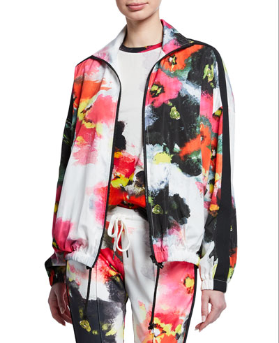 Abstract-Printed Zip-Front Track Jacket