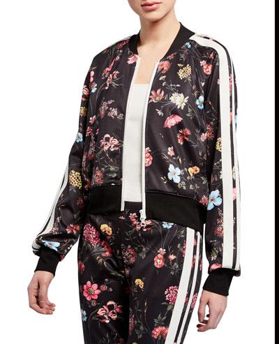 Fine Line Floral Zip-Front Crop Track Jacket