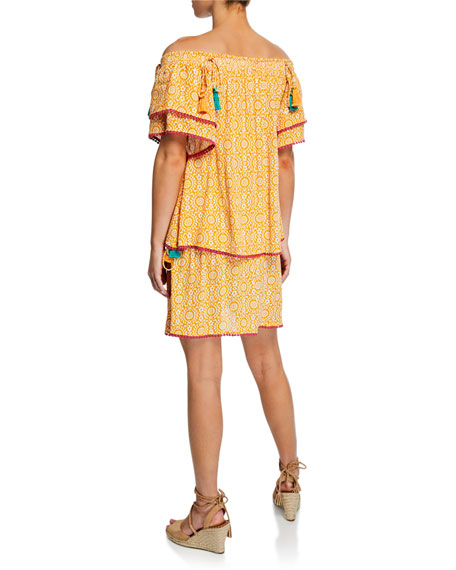 Tessora Talia Printed Off-Shoulder Tiered Short Dress