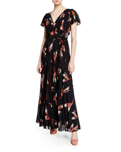 Floral-Print Pleated Short-Sleeve Belted Georgette Dress