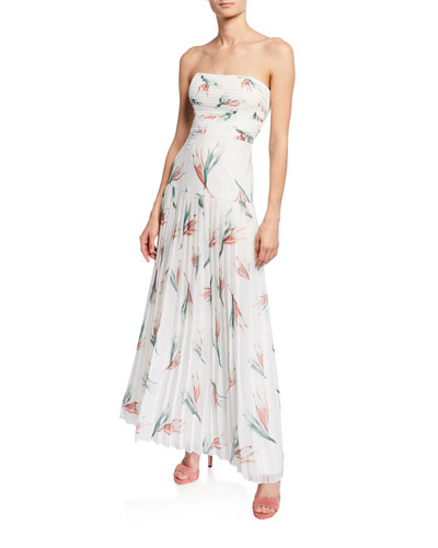 Floral-Print Strapless Pleated Maxi Dress
