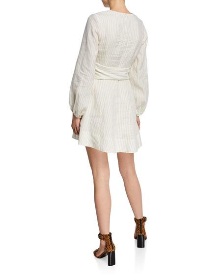 Shona Joy Isadora Plunge-Neck Long-Sleeve Belted Mini Dress