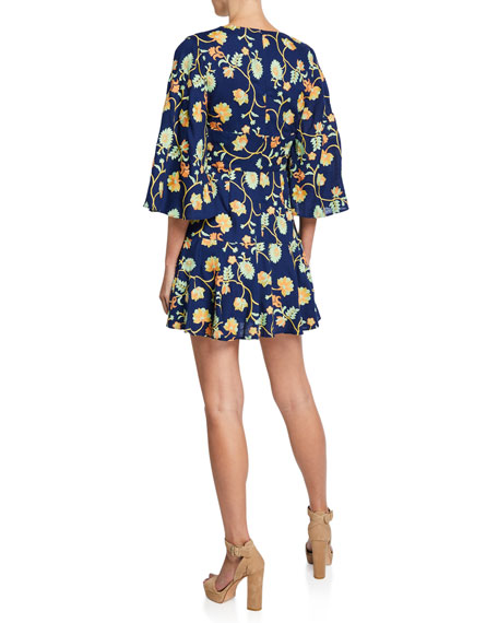 Mestiza New York Camilla Floral-Embroidered Kimono-Sleeve Mini Dress