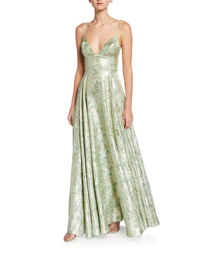 Stella Metallic Jacquard V-Neck Spaghetti-Strap Gown