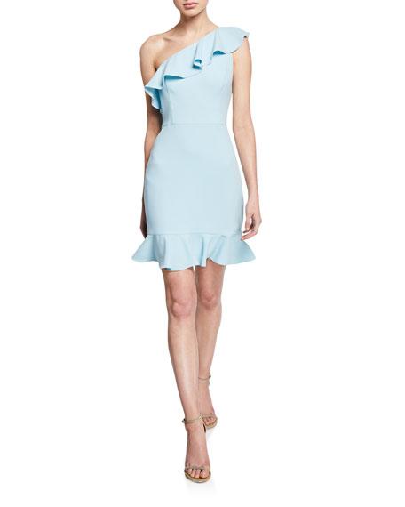 Aidan by Aidan Mattox One-Shoulder Sleeveless Crepe Ruffle Dress