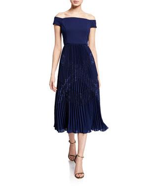 ee7b4748943 Aidan by Aidan Mattox Off-the-Shoulder Short-Sleeve Pleated Midi Dress