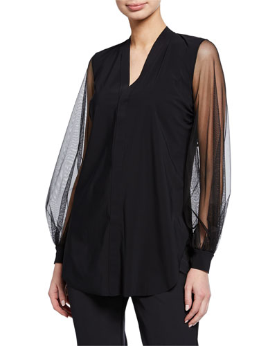 Serilda Blouson-Sleeve Illusion Top