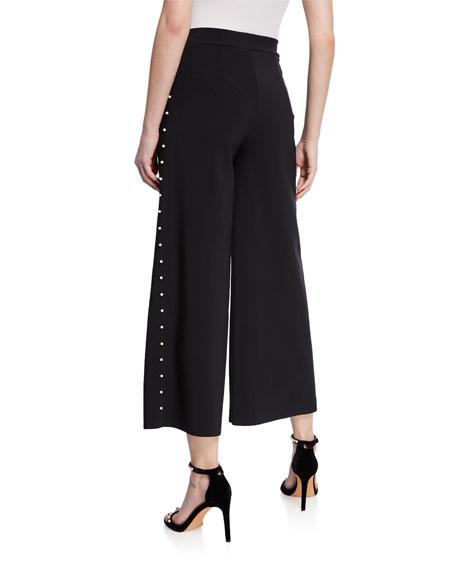 Chiara Boni La Petite Robe Norma Cropped Wide-Leg Pants w/ Pearlescent Trim