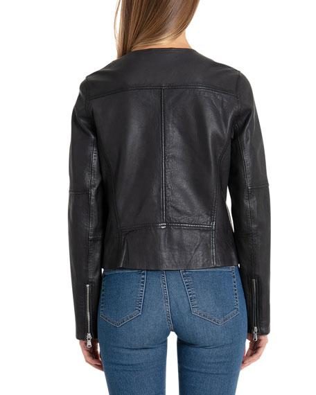 Badgley Mischka Collarless Lamb Leather Bike Jacket
