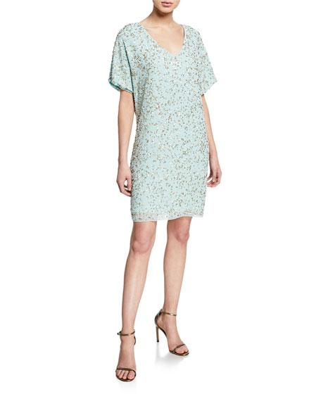 Aidan Mattox Beaded-Mesh V-Neck Short-Sleeve T-Shirt Cocktail Dress