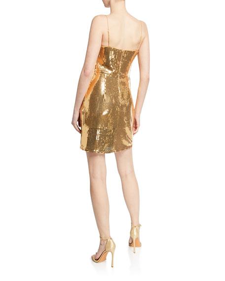 SHO Sequin Cowl-Neck Spaghetti-Strap Mini Dress
