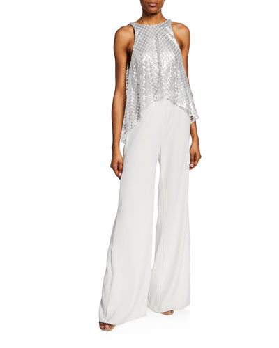 Sleeveless Wide-Leg Jumpsuit with Sequin Top & Crepe Bottom
