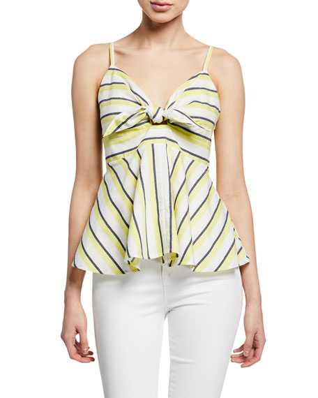 Cupcakes and Cashmere Kerria Striped Peplum Tank