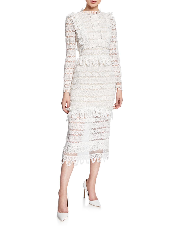 53ecaa350eb69 Elliatt Clover High-Neck Long-Sleeve Lace Midi Dress   Neiman Marcus