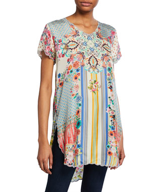 42a91dba504 Johnny Was Kitch Mixed-Print Short-Sleeve Tunic