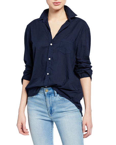 Frank & Eileen Long-Sleeve Button Down Cotton Shirt, Blueberry