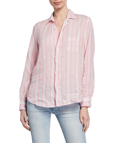 Frank & Eileen Long-Sleeve Striped Button-Down Top