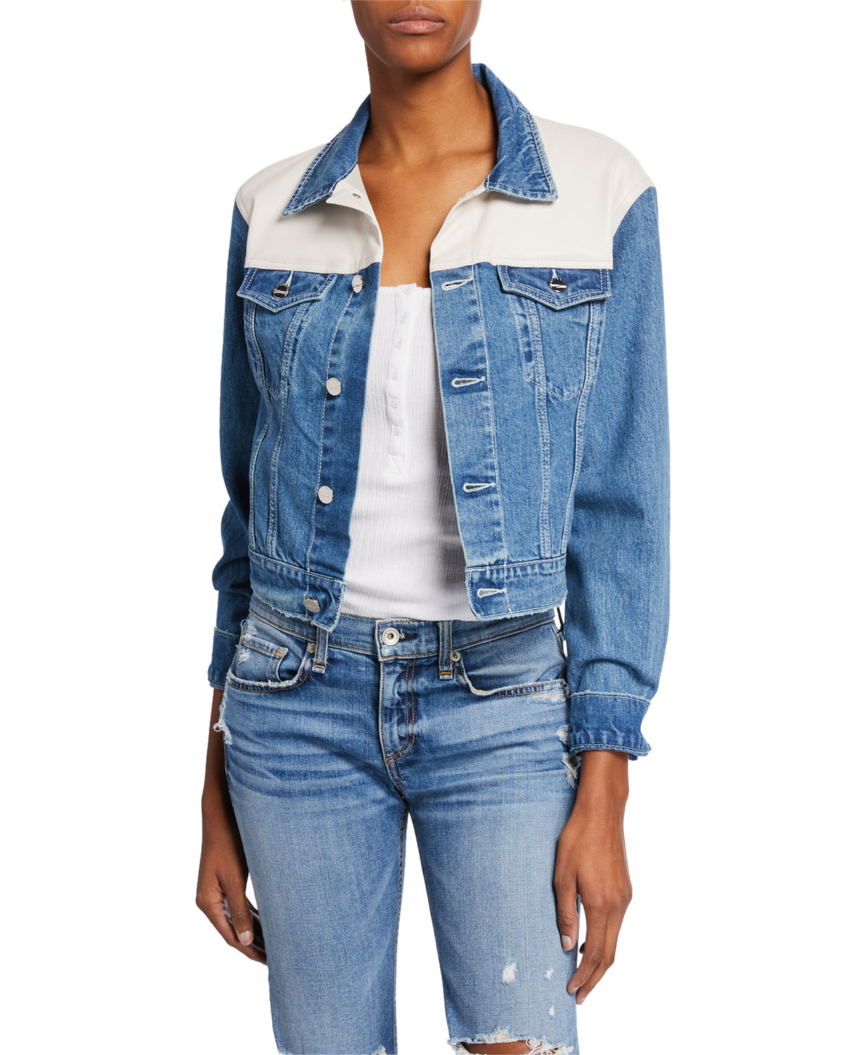 LaMarque Karly Cropped Denim Jacket w/ Leather | Neiman Marcus