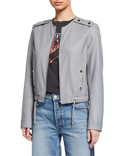 Bluma Zip-Front Leather Bomber Jacket