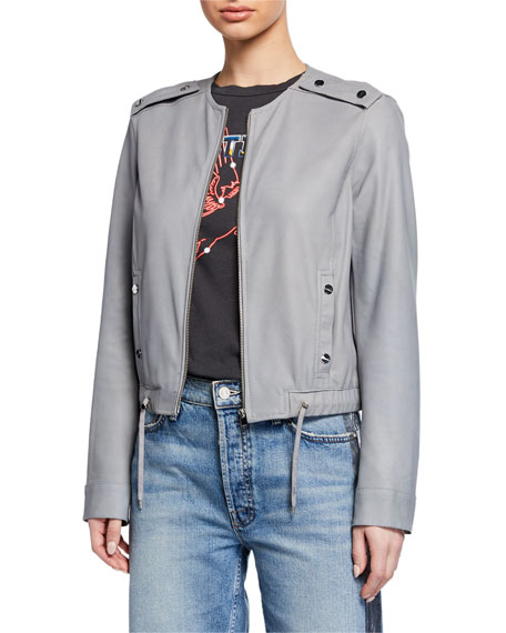 LaMarque Bluma Zip-Front Leather Bomber Jacket