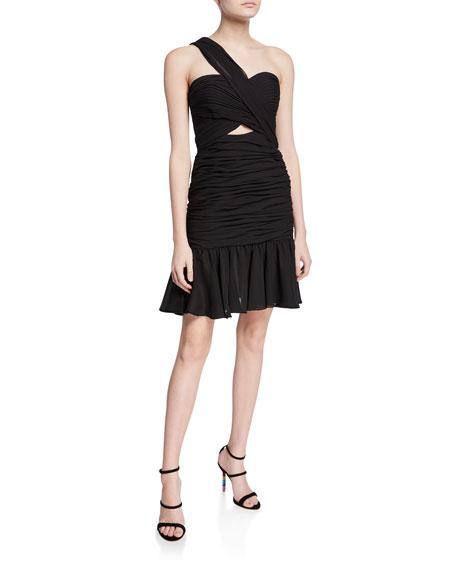 Jill Jill Stuart Cross Halter Shirred Flounce-Hem Mini Dress