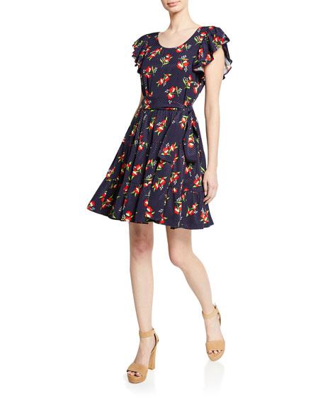 Jill Jill Stuart Midnight Floral-Jacquard Flutter-Sleeve Cocktail Dress