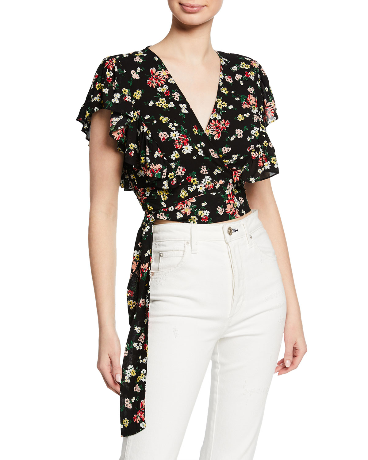9568396dbb Floral-Print Short-Sleeve Cropped Wrap Top