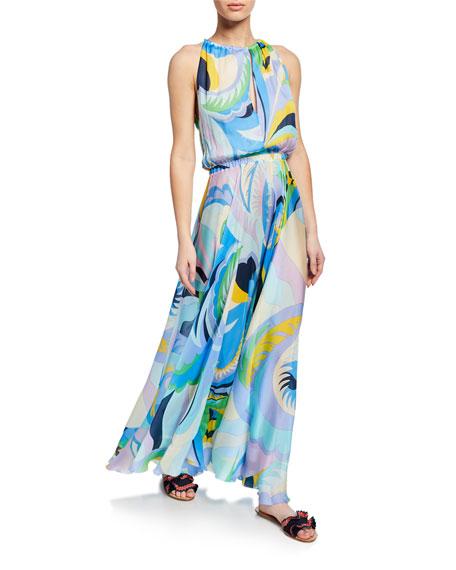 Emilio Pucci Printed Silk Sleeveless Long Coverup Dress