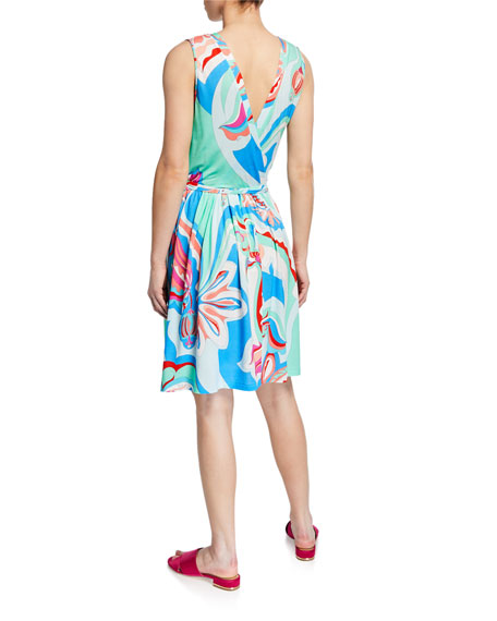 Emilio Pucci Printed Sleeveless Coverup Wrap Dress