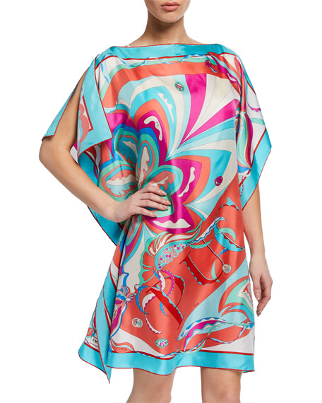 Emilio Pucci Printed Silk Boat-Neck Short Coverup Dress