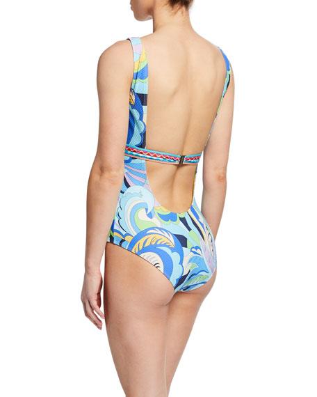 Emilio Pucci Printed Scoop-Neck One-Piece Swimsuit