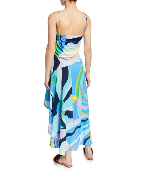 Emilio Pucci Ruched High-Low Printed Coverup Dress