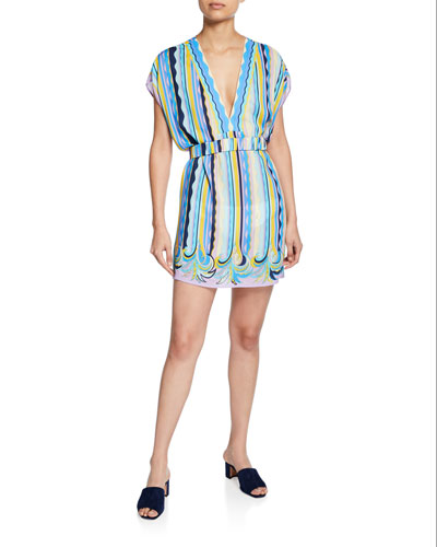 Printed Coverup Dress with Belt