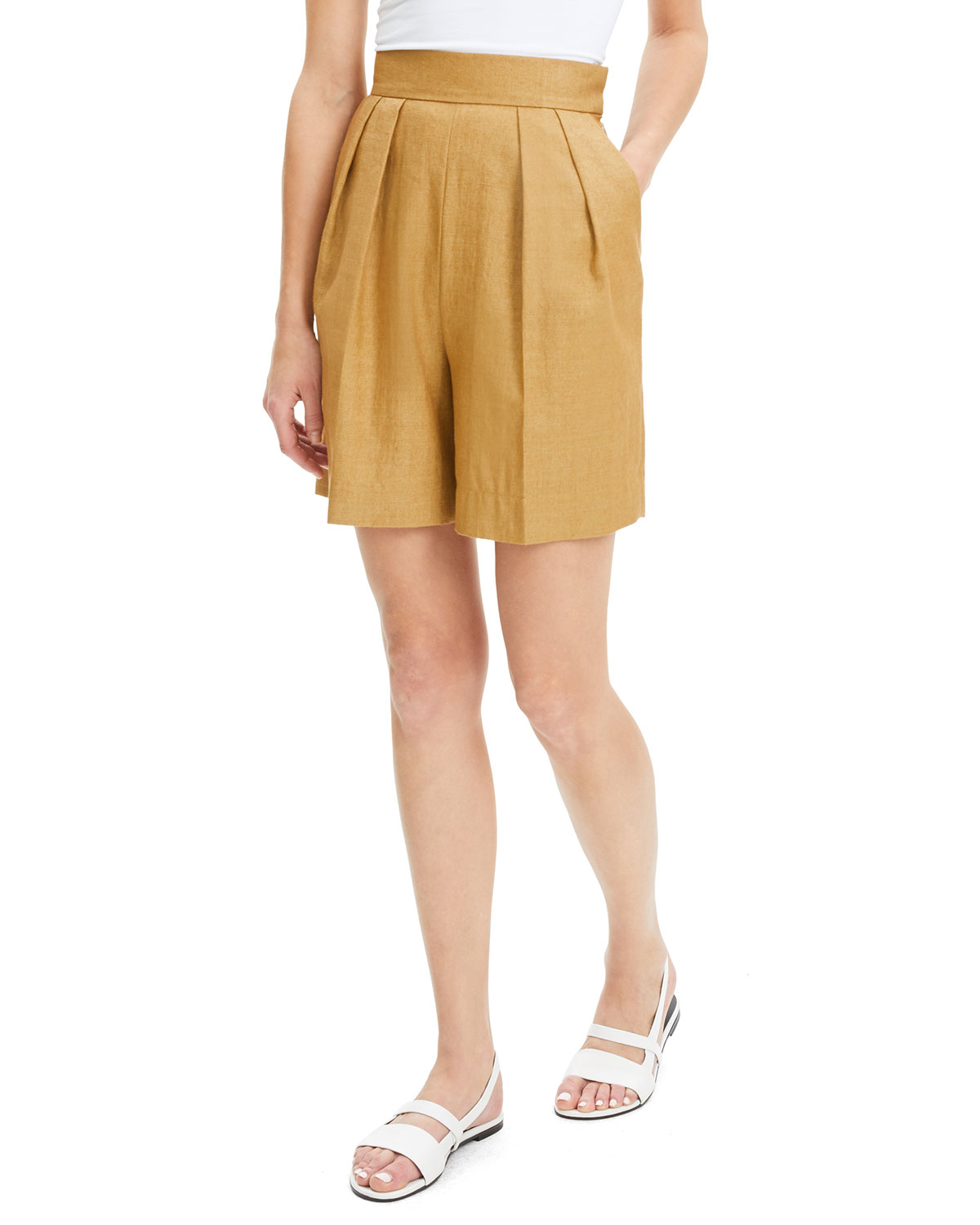 35bc401351c9b Theory High-Rise Pleated Luxe Linen Shorts | Neiman Marcus