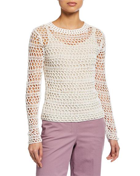 Theory Crewneck Long-Sleeve Crochet Top