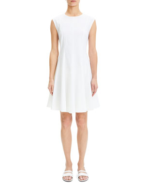 f14bd5e9fd6 Theory Eco Crunch Crewneck Sleeveless Fit-and-Flare Dress