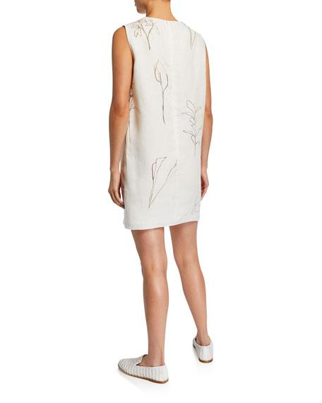 Theory Nature-Print Crewneck Sleeveless Mini Shift Dress