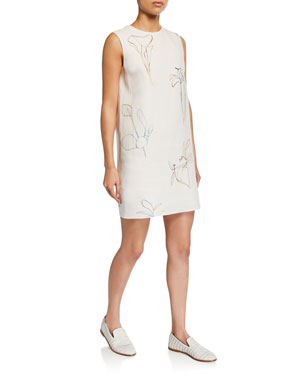 2596dc8fc4 Theory Nature-Print Crewneck Sleeveless Mini Shift Dress