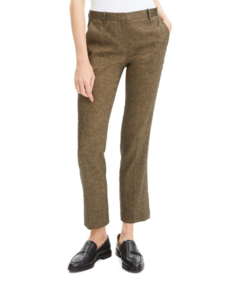 Theory Tailored Textured Straight-Leg Trousers
